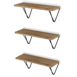 "COLMAR Floating Shelves and Wall Bookshelf – 17"" x 6"" – Set of 2, or 3 – Natural Burned with Black Brackets - Wallniture"