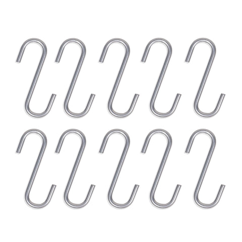 S Hooks for Hanging  Storage Hooks - 2.8 Inch - Set of 10 - Silver, Black - Wallniture