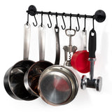 "CUCINA Kitchen Utensil Holder with 10 S Hooks for Hanging, Wall Mount Pot Lid Organizer - 16"" Length - Black - Wallniture"