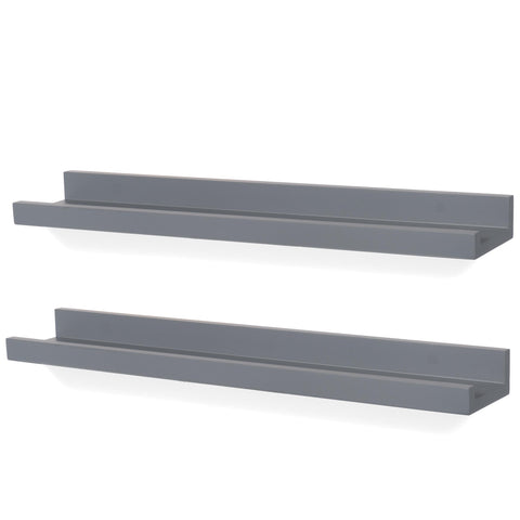 "DENVER Floating Shelves Wall Bookshelf and Picture Ledge – 22"" Length x 3.8"" Depth – Set of 2 – Gray - Wallniture"