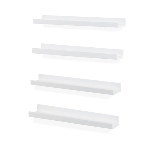 "DENVER Floating Shelves Wall Bookshelf and Picture Ledge – 20"" Length x 3.8"" Depth – Set of 4 - White - Wallniture"