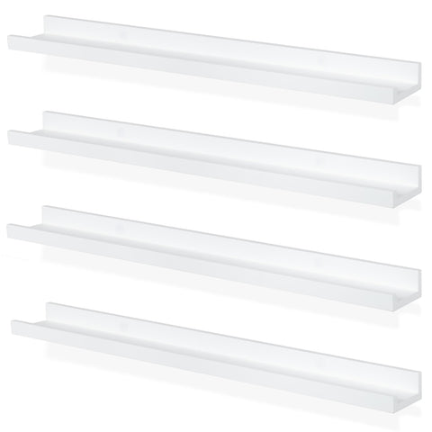 "DENVER Picture Ledge Shelf and Wall Bookshelf – 30"" Length – Set of 4 - White"