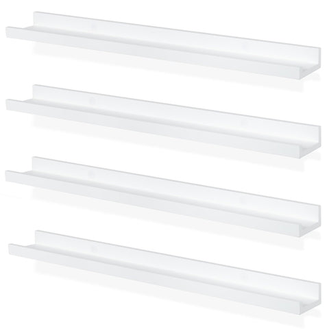 "DENVER Floating Shelves Wall Bookshelf and Nursery Decor – 30"" Length x 3.8"" Depth – Set of 4 - White - Wallniture"