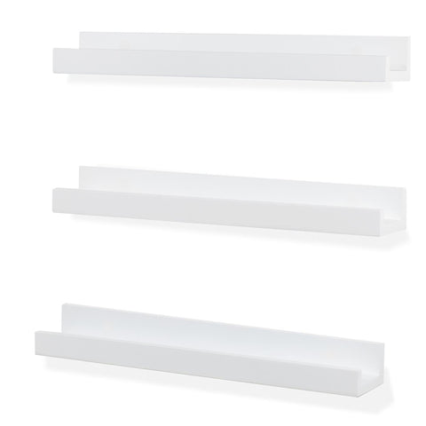 "DENVER Floating Shelves Wall Bookshelf and Nursery Decor – 17"" Length x 3.15"" Depth – Set of 3 - White - Wallniture"