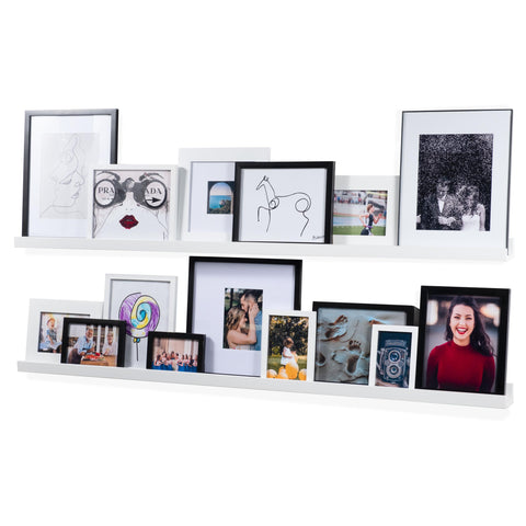 "DENVER Floating Shelves Wall Bookshelf and Picture Ledge – 56"" Length x 3.15"" Depth – White – Set of 2 - Wallniture"
