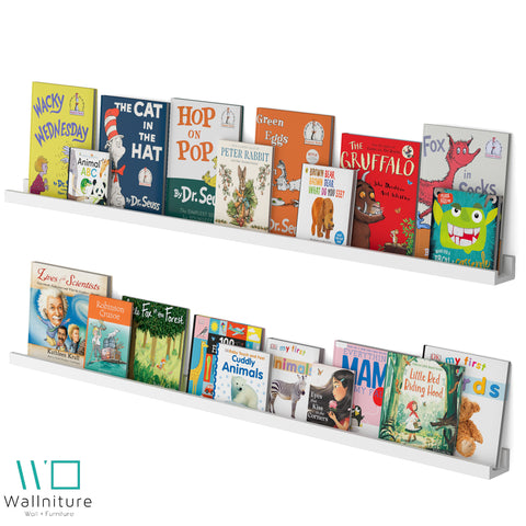 "DENVER Floating Shelves Wall Bookshelf and Nursery Decor – 60"" Length x 3.15"" Depth – Set of 2 - White - Wallniture"