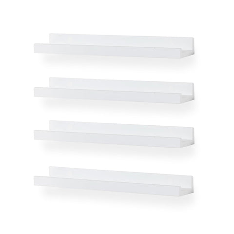 "DENVER Floating Shelves Wall Bookshelf and Nursery Decor – 17"" Length x 3.8"" Depth – Set of 4 - White, Black"