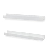 "DENVER Floating Shelves Wall Bookshelf and Nursery Decor - 34"" Length x 5"" Depth – Set of 2 – White - Wallniture"
