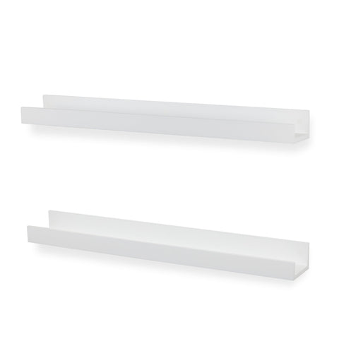 "DENVER Floating Shelves Wall Bookshelf and Nursery Decor - 34"" Length – Set of 2 – White - Wallniture"