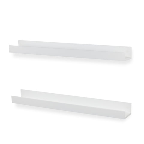 "DENVER Wall Mount Bookshelf – 34"" Length – Set of 2 – White"