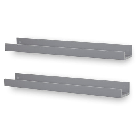 "DENVER Floating Shelves Wall Bookshelf and Nursery Decor –  34"" Length –  Set of 2 – Gray - Wallniture"