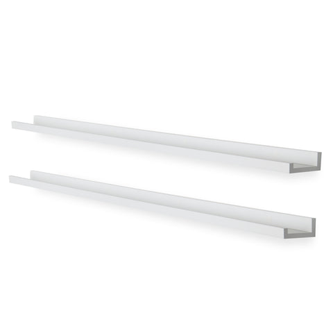 "DENVER Wall Shelf for Book Display and Photo Ledge – 60"" Length - White - Set of 2 - wallniture"