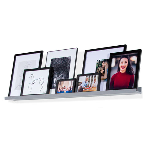 "DENVER Floating Shelves Wall Bookshelf and Picture Ledge – 46"" Length x 3.6"" Depth – Set of 1 or 3 – Gray"
