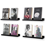"DENVER Floating Shelves Wall Bookshelf and Picture Ledge  – 17"" Length x 3.6"" Depth – Set of 4 – Gray, Black, White - Wallniture"