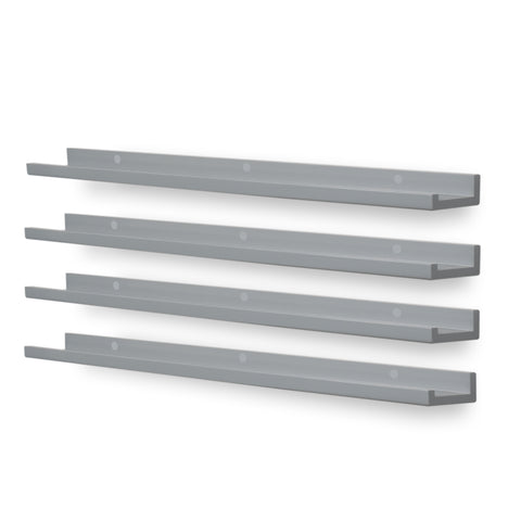 "DENVER Floating Shelves Wall Bookshelf and Nursery Decor– 46"" Length – Set of 4 - Gray - Wallniture"