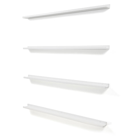 "DENVER Floating Shelves Wall Bookshelf and Nursery Decor – 46"" Length x 3.6"" Depth – Set of 4 - White"