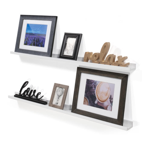 "DENVER Floating Shelves and Picture Ledge – 46"" Length x 3.6"" Depth – Set of 2 – White - Wallniture"
