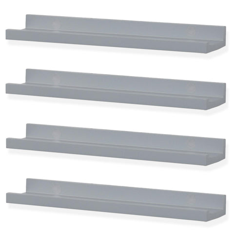"DENVER Floating Shelves Wall Bookshelf and Nursery Decor – 17"" Length – Set of 4 – Gray - Wallniture"