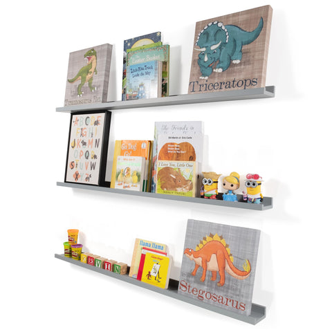 "DENVER Floating Shelves Wall Bookshelf and Nursery Decor – 46"" Length x 3.6"" Depth – Set of 3 - Gray"