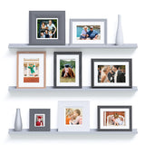 "DENVER Picture Ledge Floating Shelves and Wall Bookshelf – 46"" Length – Set of 3 - Gray - Wallniture"