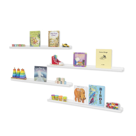 "DENVER Floating Shelves Wall Bookshelf and Nursery Decor – 46"" Length x 3.6"" Depth – Set of 4 - White - Wallniture"
