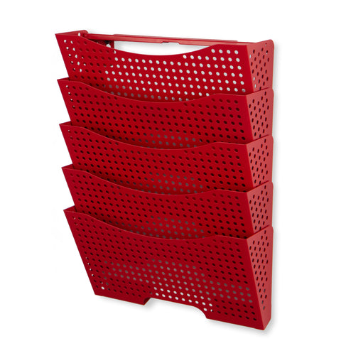 DOTS LISBON Wall File Magazine Holder – 5 Sectional – Red