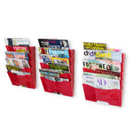 DOTS LISBON Wall File Magazine Holder - 5, 10, 15 Tier - Red - Wallniture