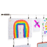 DRAPE Wire Picture Hanging Kit for Nursery Decor with Picture Hangers - 24 Clips - 196'' Length - Set of 1 or 2 - Wallniture