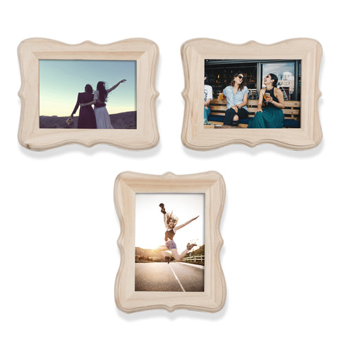 "WOODFANCY 5"" x 7"" Wooden Picture Frame - Set of 3 - Wallniture"