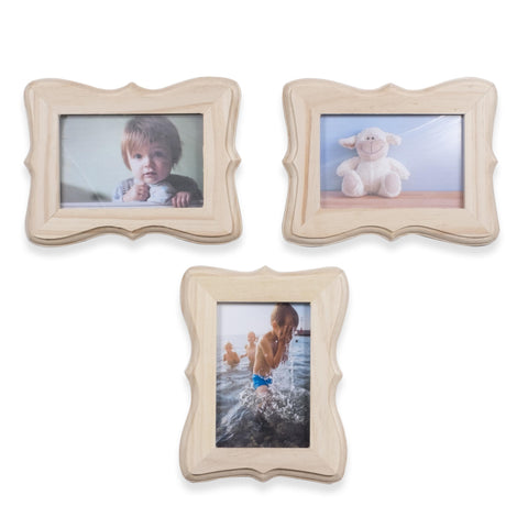 "WOODFANCY 4"" x 6"" Wooden Picture Frame - Set of 3 - wallniture"