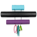 GURU Wall Mount Yoga Mat And Foam Roller Rack - Black - Wallniture