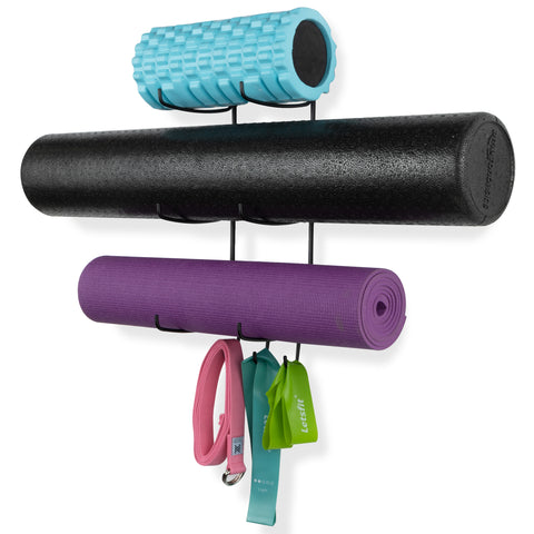 GURU 3 Sectional Wall Mount Yoga Mat And Foam Roller Rack - Set of 1, 2, or 3 - Black - Wallniture