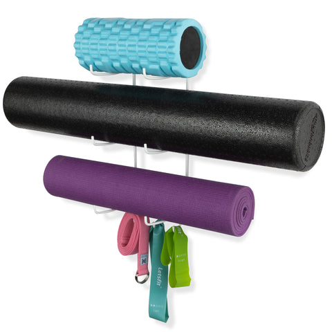 GURU 3 Sectional Wall Mount Yoga Mat And Foam Roller Rack - Set of 1, 2 or 3 - White - Wallniture