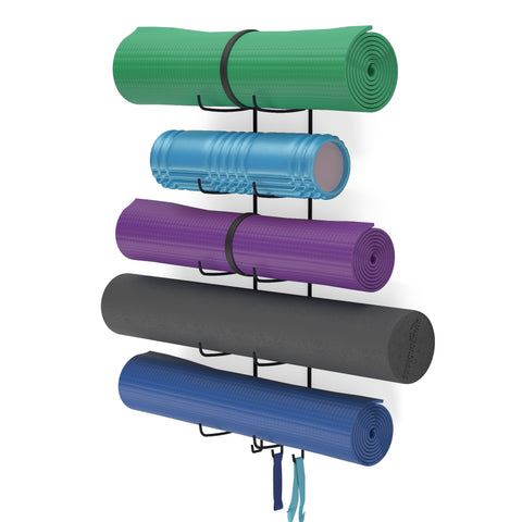 GURU Wall Mount Yoga Mat holder & Foam Roller Rack with Hooks for Hanging - 5 Sectional - Black