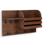 "HORTA Coat Rack Entryway Organizer with Key Hooks For Hanging and Mail Holder - 16.5"" Length - Walnut - Wallniture"