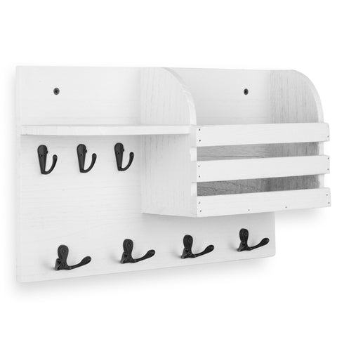 "HORTA Coat Rack Entryway Organizer with Key Hooks For Hanging and Mail Holder - 16.5"" Length - White - Wallniture"