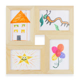 "WOODKADRA 4 Opening Collage Wood Picture Frame - 4"" x 6"" - Natural Finish - Wallniture"