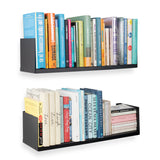 "LIBRO Floating Shelves & Wall Bookshelf for Bedroom Decor– 24"" Length – Set of 2 – White, Black"