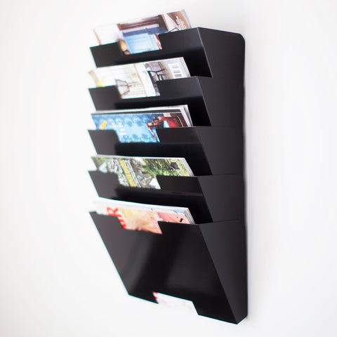 LISBON Wall Mounted File and Magazine Holder - 5 Sectional - Black, White, Gray