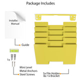 LISBON Wall Mounted File and Magazine Holder - 5, 10 Tier - Yellow - Wallniture