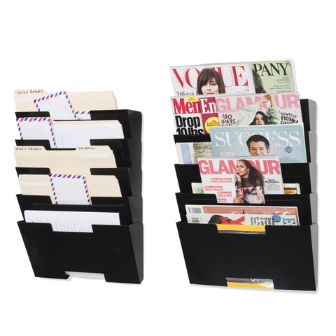 LISBON Wall Mounted File and Magazine Holder - 10 Sectional - Black, White, Gray