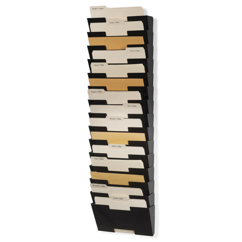 LISBON Wall File Magazine Holder - 15 Tier - Black, White, Gray