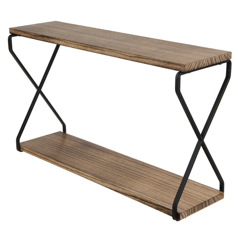 "LUCCA Floating Shelves and Wall Bookshelf – 24"" Length – 2 Tier – Natural Burned - Wallniture"