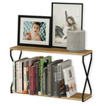 "LUCCA Floating Shelves and Wall Bookshelf – 24"" Length – 2 Tier – Natural Burned"