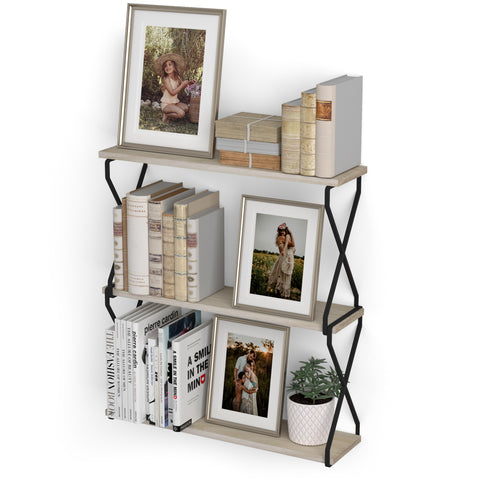 "LUCCA Floating Shelves and Wall Bookshelf – 24"" Length – 3 Tier – Natural"