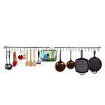 "LYON Kitchen Utensil Holder with 10 S Hooks for Hanging – 23.25"" Length –  Silver - Wallniture"