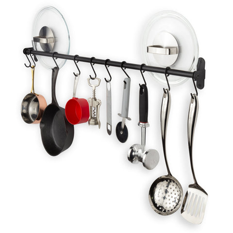 "LYON Kitchen Rail Utensil Organizer with 10 Hooks - 32"" Length - Black - Wallniture"
