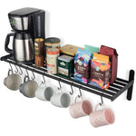 "LYON Kitchen Wall Shelf with 10 S Hooks - 33.5"" Long - Frosty Black - Wallniture"