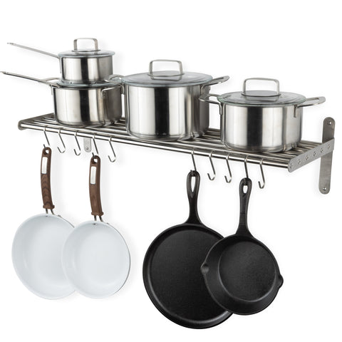 "LYON Kitchen Wall Shelf with 10 S Hooks - 33.5"" Long - Chrome - Wallniture"