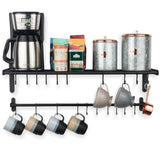 "LYON Shelf, Rail and Hook - 33.5"" - 20 S Hooks Included - Frosty Black - Wallniture"